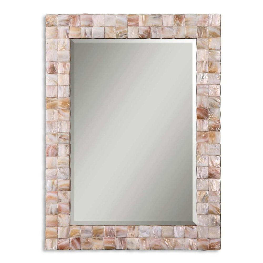 Global Direct 27 in. x 37 in. Mother of Pearl Framed Mirror