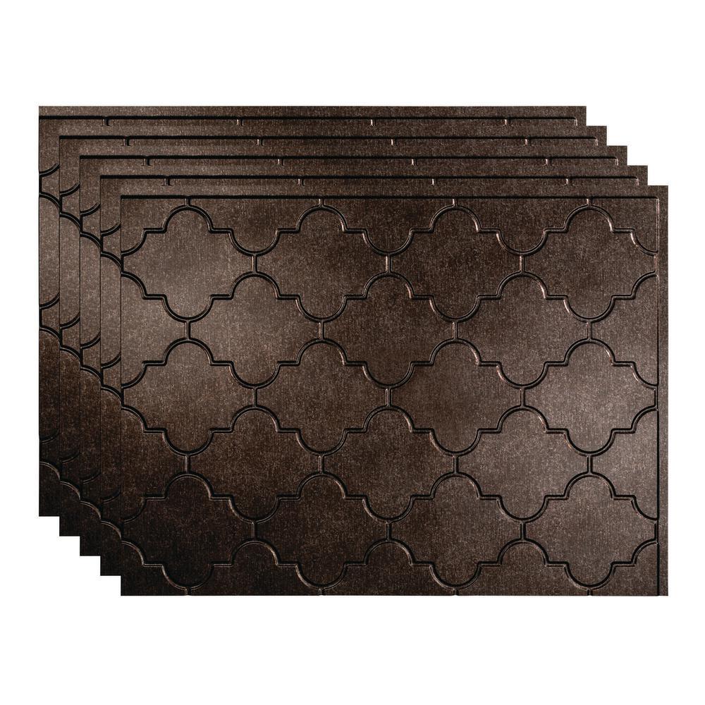 Monaco 18 in. x 24 in. Smoked Pewter Vinyl Decorative Wall Tile Backsplash 15 sq. ft. Kit