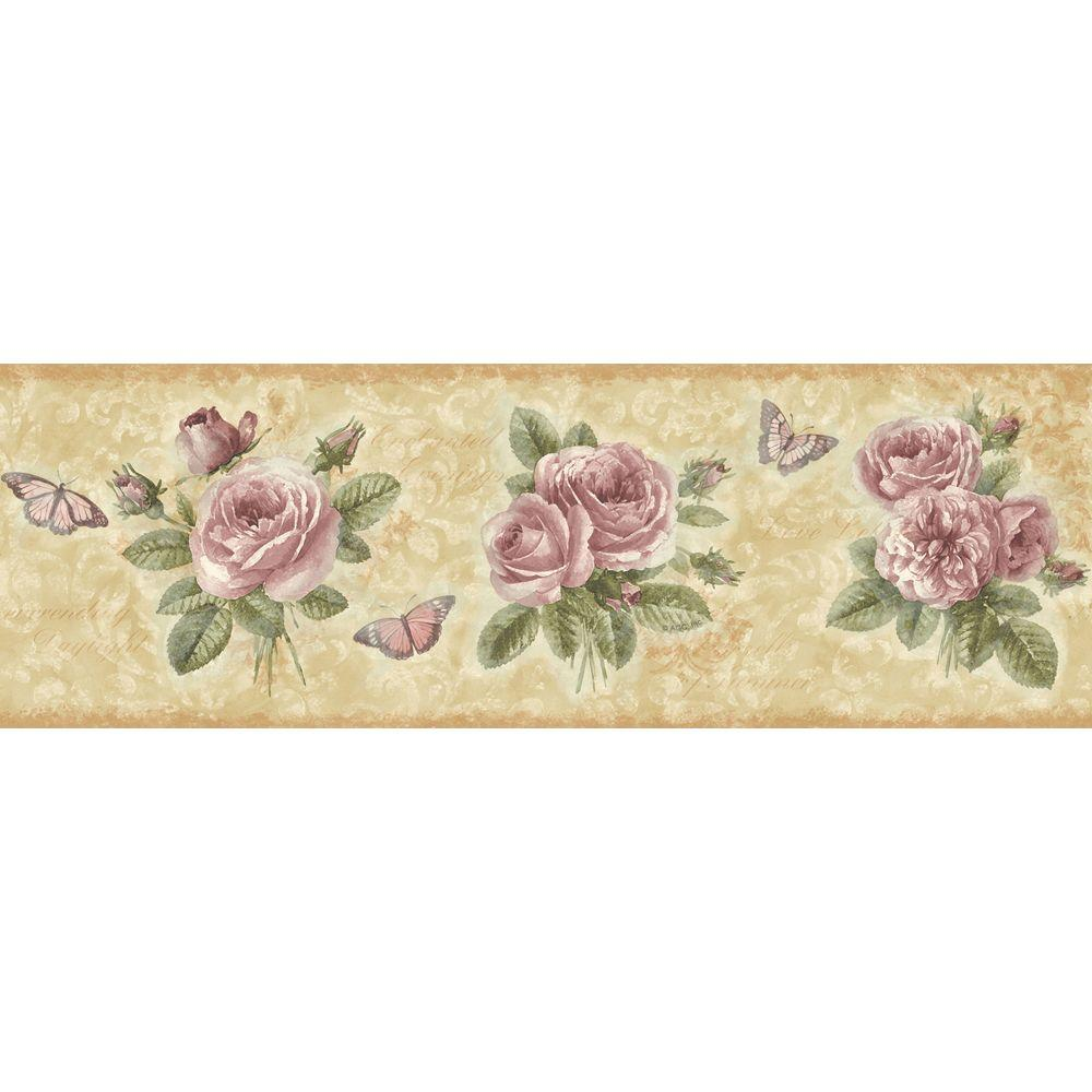 The Wallpaper Company 6.83 in. x 15 ft. Pink Romantic Rose Border-DISCONTINUED
