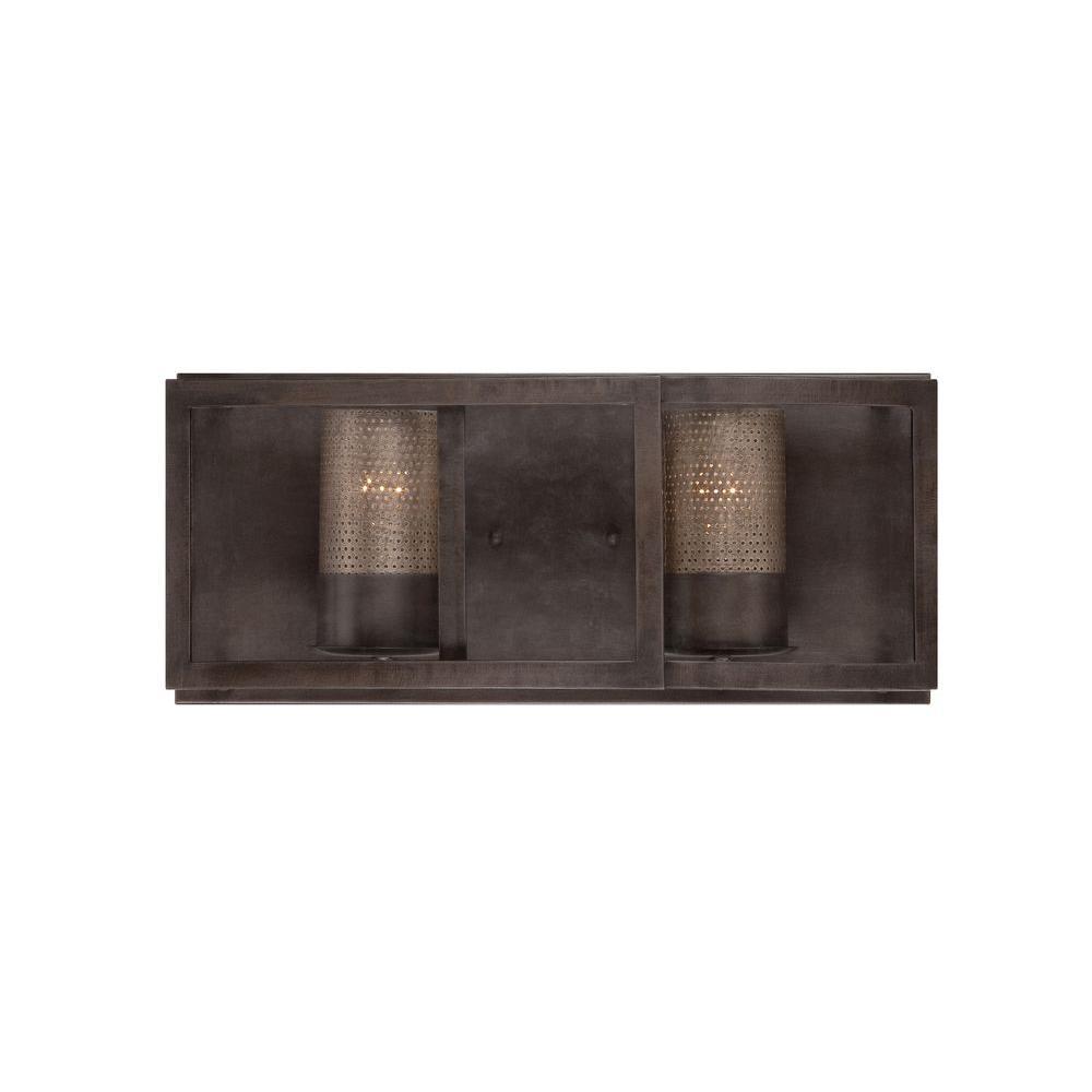 Varaluz jackson 2 light rustic bronze vanity light with arched windowpane glass