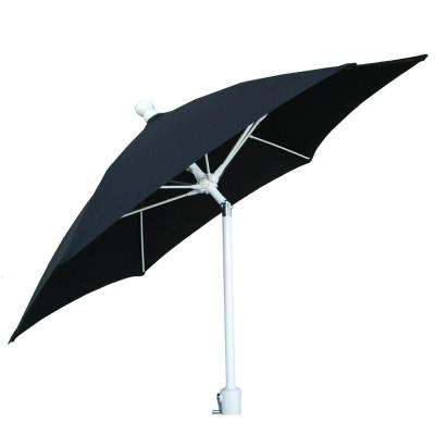 7.5 ft. 2-Piece White Pole Tilt Patio Umbrella in Black Canopy