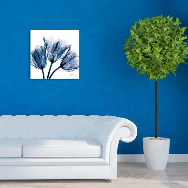 ''Blue Tulip X-Ray'' Frameless Free Floating Tempered Glass Panel Graphic Wall Art