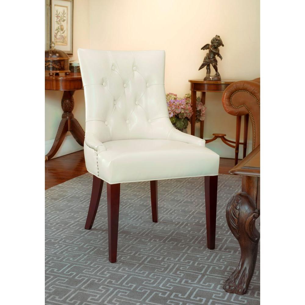 Safavieh Amanda Flat Cream Bicast Leather Accent Chair ...