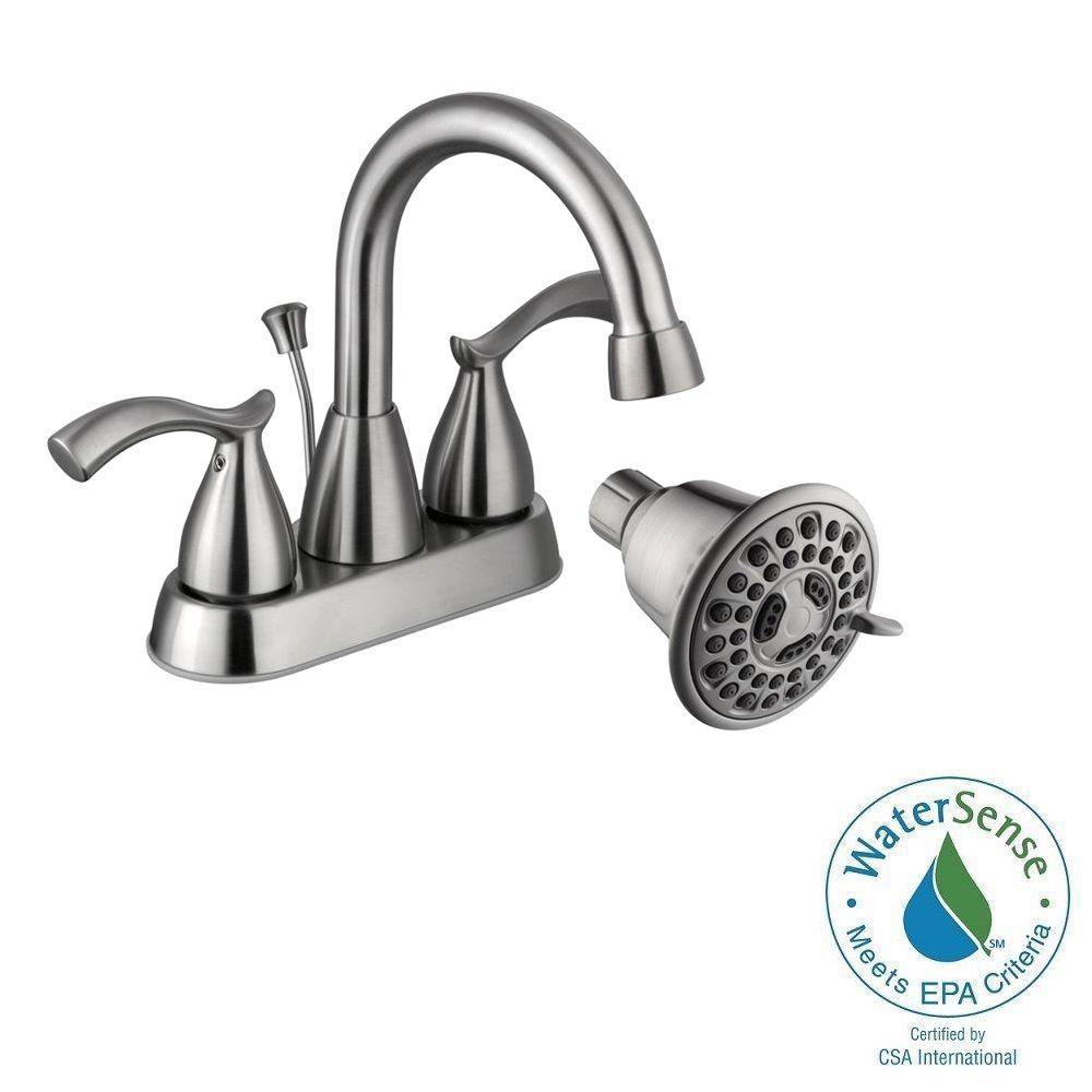 Edgewood 4 in. 2-Handle High-Arc Bathroom Faucet with Bonus 3-Spray Showerhead in Brushed Nickel