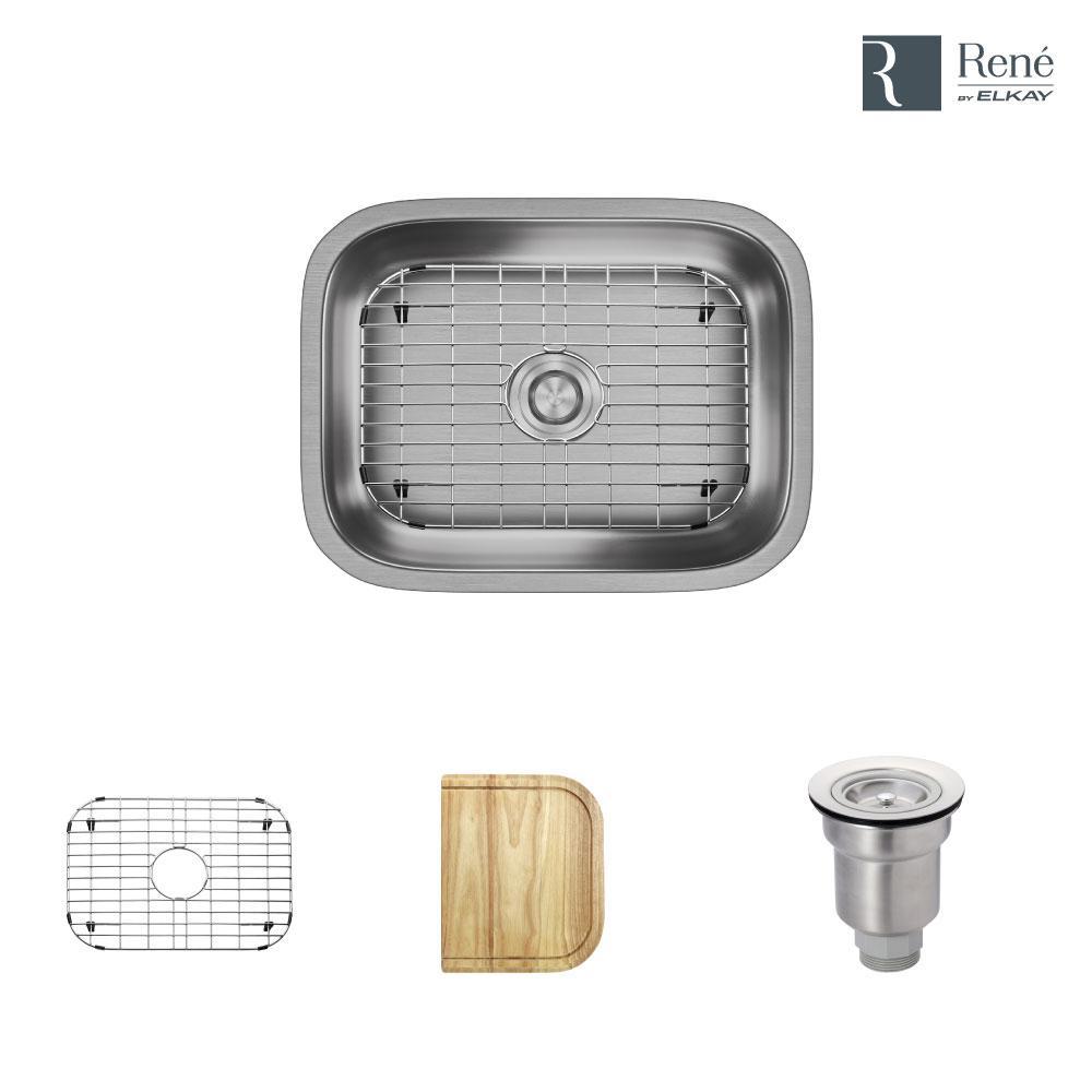 Undermount Stainless Steel 23 in. Single Basin Kitchen Sink