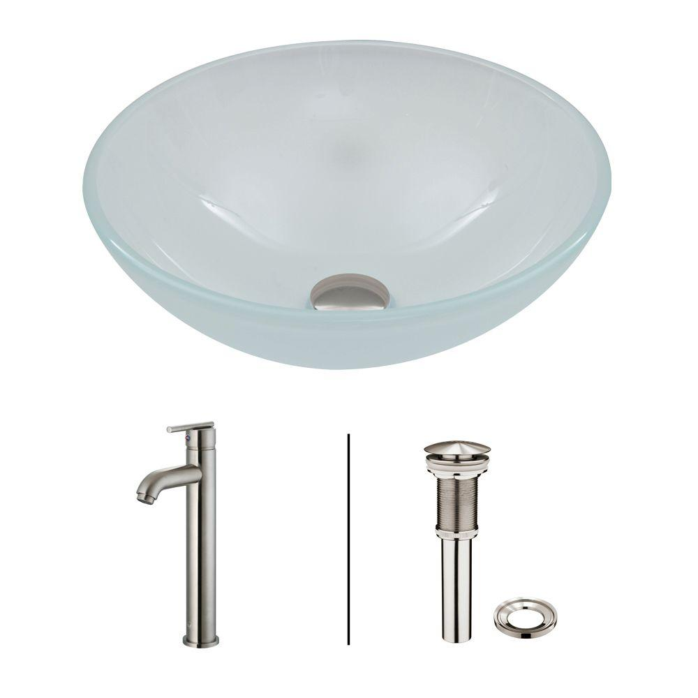 Glass Vessel Sink in White Frost with Faucet Set in Brushed