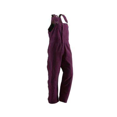 Women's Large Short Plum Cotton Washed Insulated Bib Overall