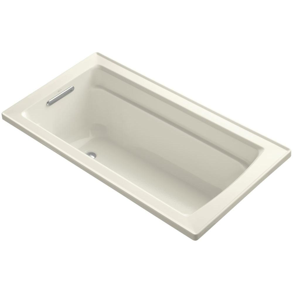 Archer 5 ft. Reversible Drain Acrylic Soaking Tub in Biscuit