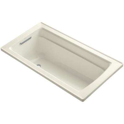 Archer 5 ft. Drop In Reversible Drain Acrylic Soaking Tub in Biscuit