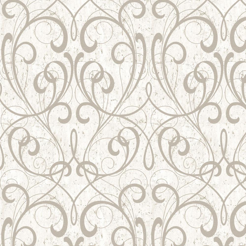 Graham Brown Kyoto Cork Damask Cream Pale Gold Wallpaper Sample