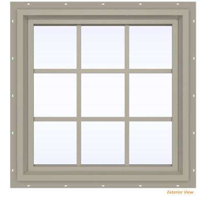 29.5 in. x 35.5 in. V-4500 Series Desert Sand Vinyl Fixed Picture Window with Colonial Grids/Grilles