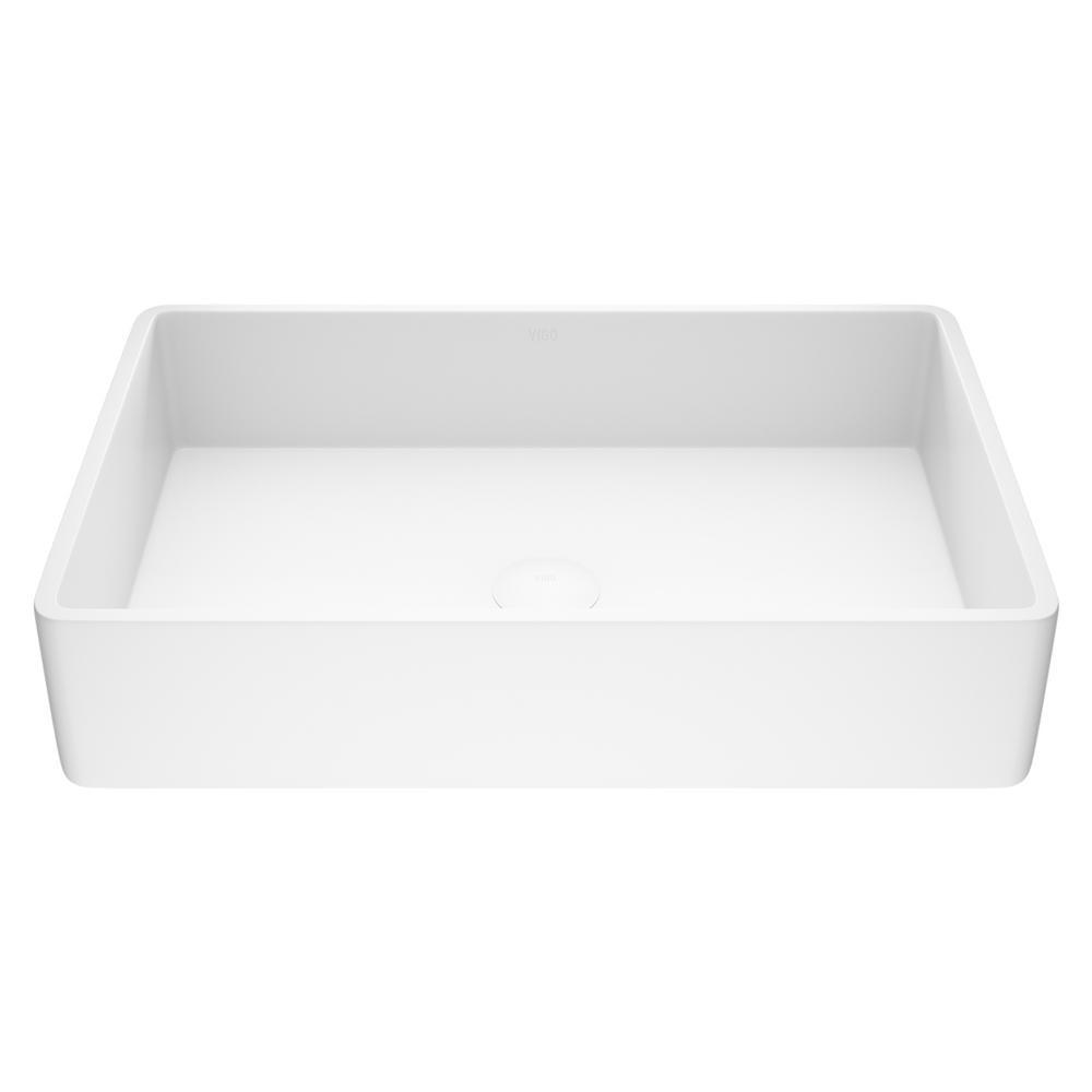 VIGO Magnolia Handmade Countertop White Matte Stone Rectangle Vessel Bathroom Sink in Matte White
