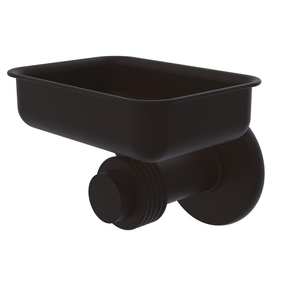 Allied Brass Mercury Collection Wall Mounted Soap Dish with Groovy Accents in Oil Rubbed Bronze
