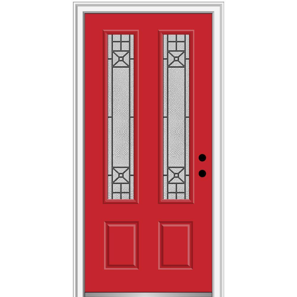 36 in. x 80 in. Courtyard Left-Hand 2-Lite Decorative Painted Fiberglass Smooth Prehung Front Door, 4-9/16 in. Frame