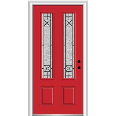 36 in. x 80 in. Courtyard Left-Hand 2-Lite Decorative Painted Fiberglass Smooth Prehung Front Door on 6-9/16 in. Frame