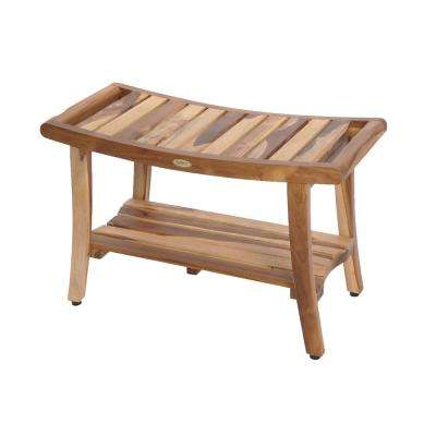 EarthyTeak Harmony 30 in. Teak Shower Bench with Shelf And LiftAide Arms
