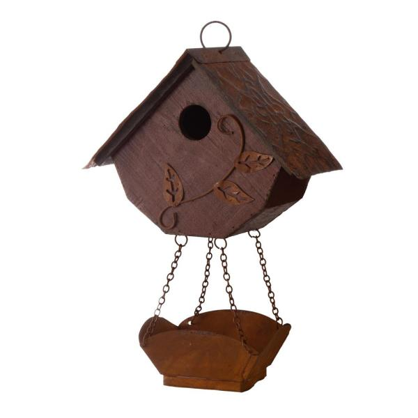 Glitzhome 13 In H Distressed Solid Wood Birdhouse With Bird Bath 6941327136963 The Home Depot