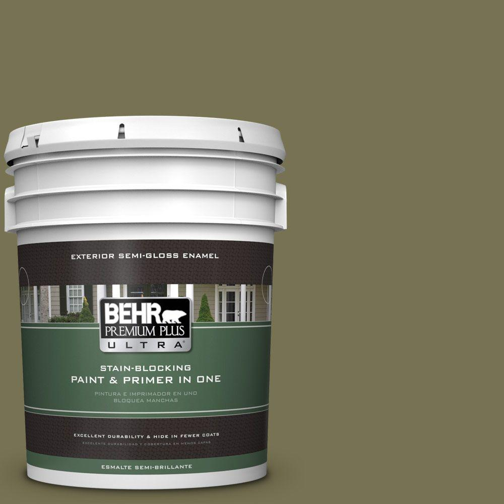 BEHR Premium Plus Ultra 5-gal. #S350-6 Truly Olive Semi-Gloss Enamel Exterior Paint