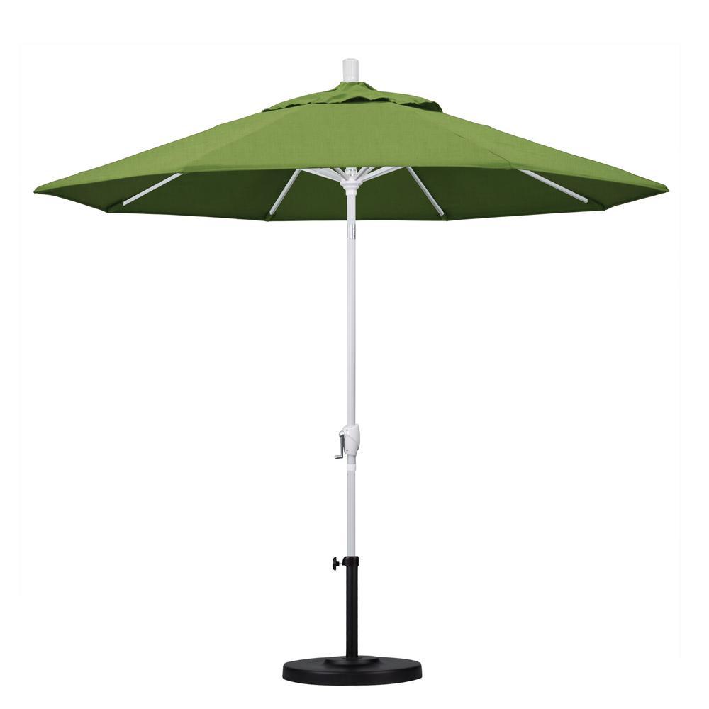 California Umbrella 9 Ft Matted White Aluminum Market Patio Umbrella With Push Tilt Crank Lift In Spectrum Cilantro Sunbrella Gspt908170 48022 The Home Depot