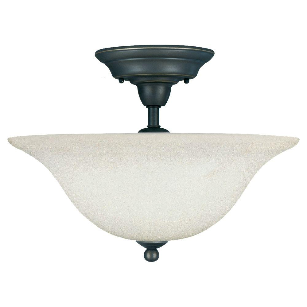 Sea Gull Lighting Sussex 3-Light Heirloom Bronze Semi-Flush Mount Light