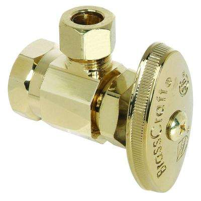 1/2 in. FIP Inlet x 3/8 in. O.D. Comp Outlet Multi-Turn Angle Valve in Polished Brass