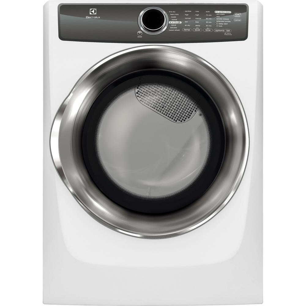 Electrolux 80 cu ft electric dryer with steam in white energy electric dryer with steam in white energy star efme517siw the home depot sciox Choice Image