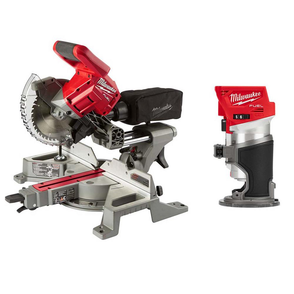 Milwaukee M18 Fuel 18 Volt Lithium Ion Brushless Cordless 7 1 4 In Dual Bevel Sliding Compound Miter Saw W Compact Router