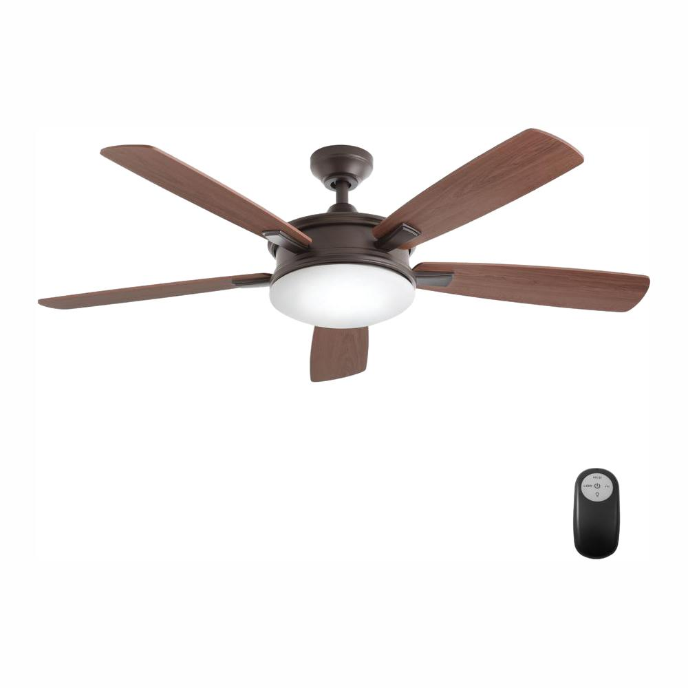 Home Decorators Collection Daylesford 52 in. LED Indoor Oiled Rubbed Bronze Ceiling Fan with Light Kit and Remote Control