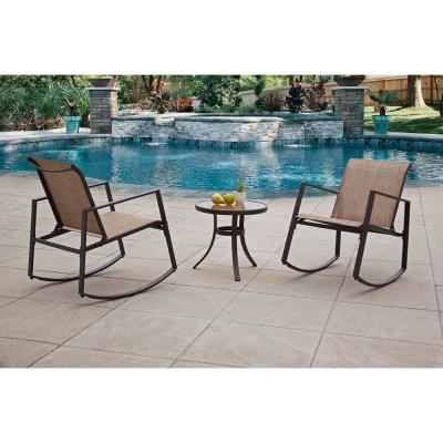 Liberty Garden Brown 3-Piece Metal Aurora Sling Outdoor Seating Set