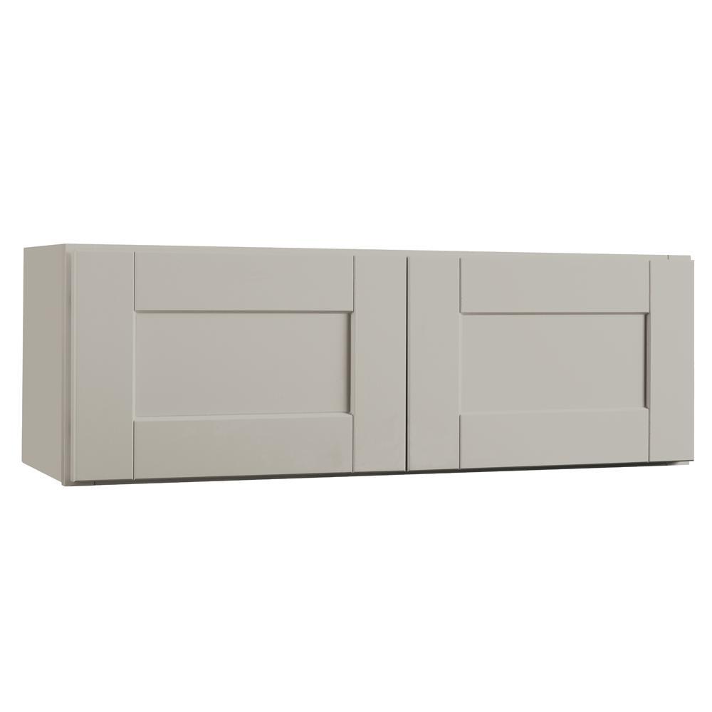 Hampton Bay Shaker Assembled 36x12x12 in. Wall Bridge Kitchen Cabinet in Dove Gray