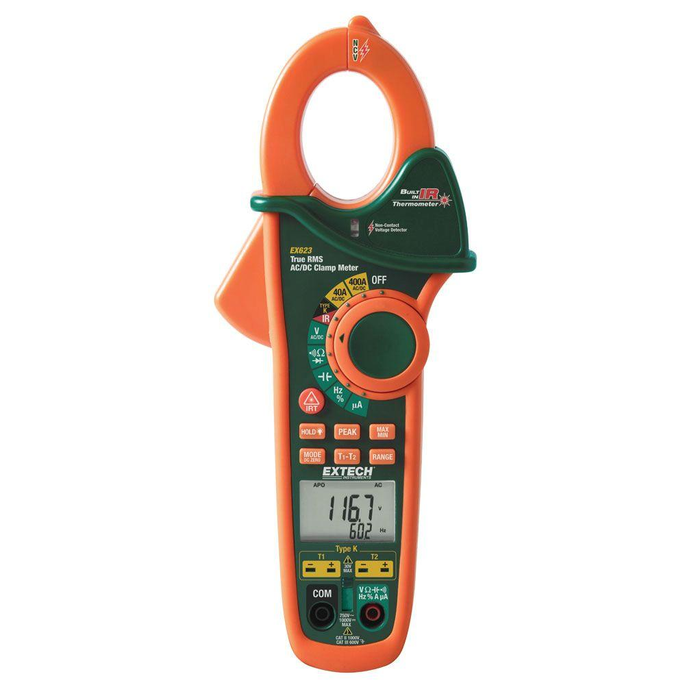 Extech Manual Clamp Meter AC/DC True RMS Dual Type K + IR