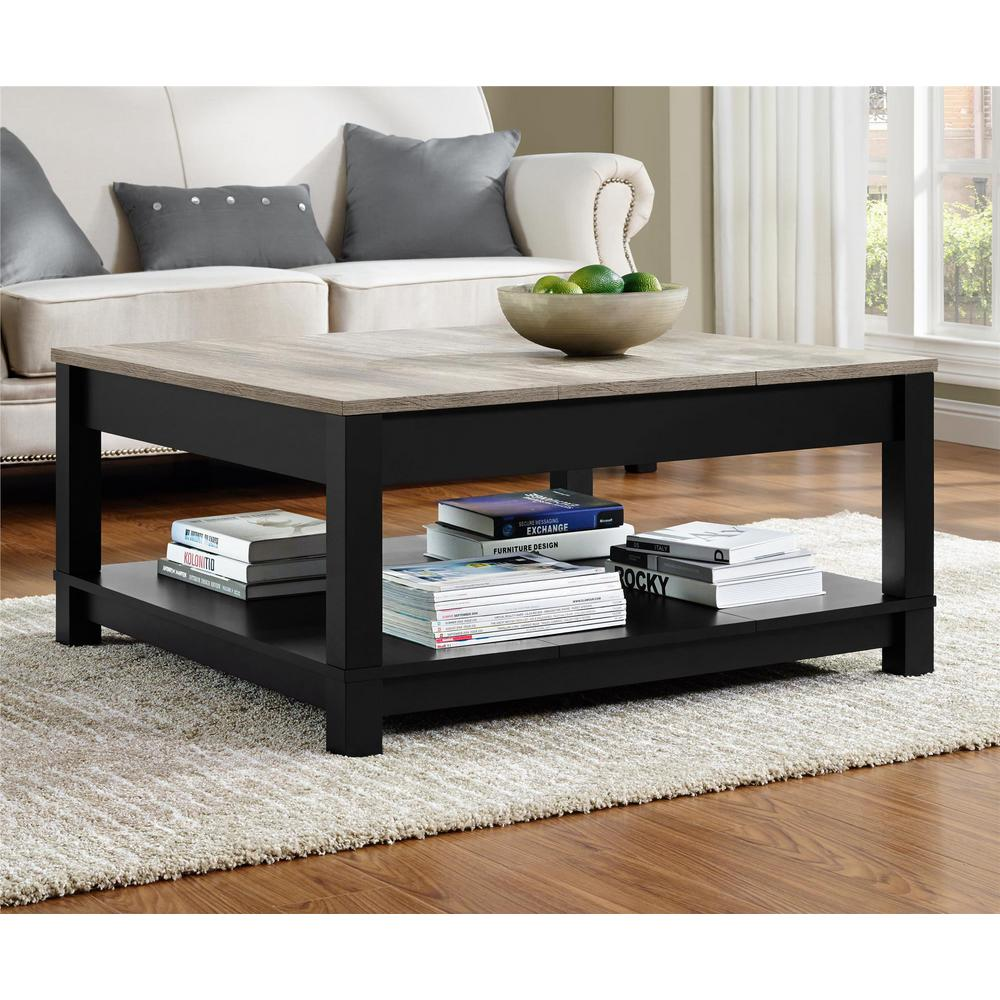 Ameriwood Home Viola Matte Black Storage Coffee Table ...