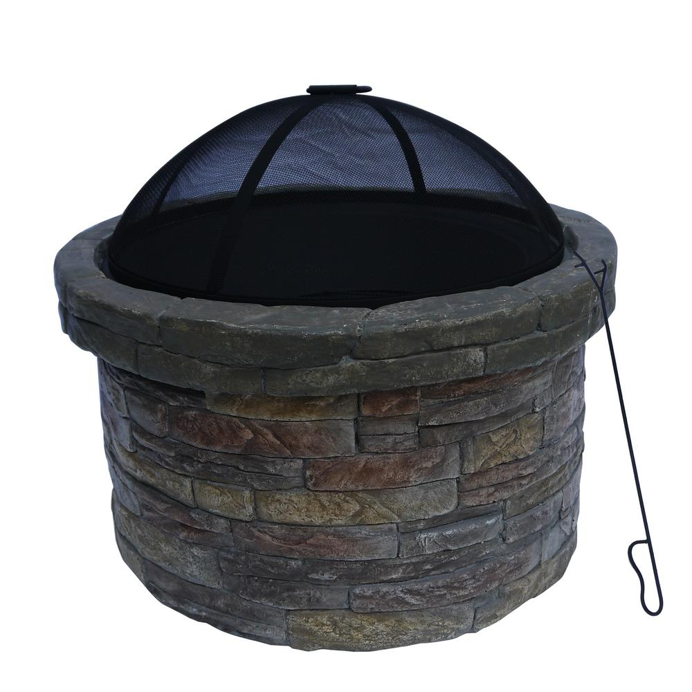Peaktop 27 in. Outdoor Round Stone Wood Burning Fire Pit in Gray with Cover