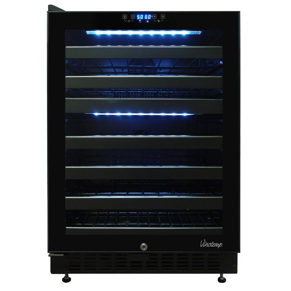Vinotemp 46-Bottle Dual-Zone Wine Cooler with Seamless Glass Door (Left-Hinge Model)