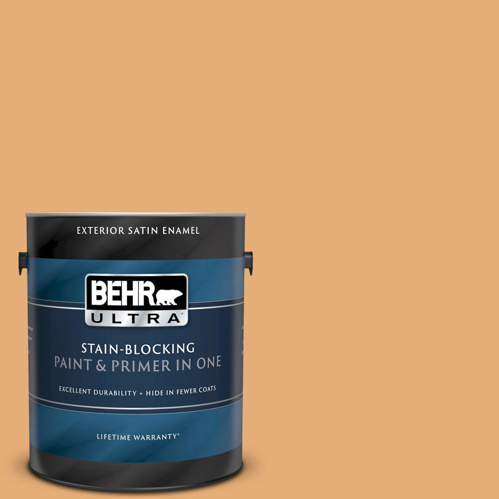 Reviews For Behr Ultra 1 Gal Pmd 75 Autumn Gourd Satin Enamel Exterior Paint And Primer In One 985401 The Home Depot