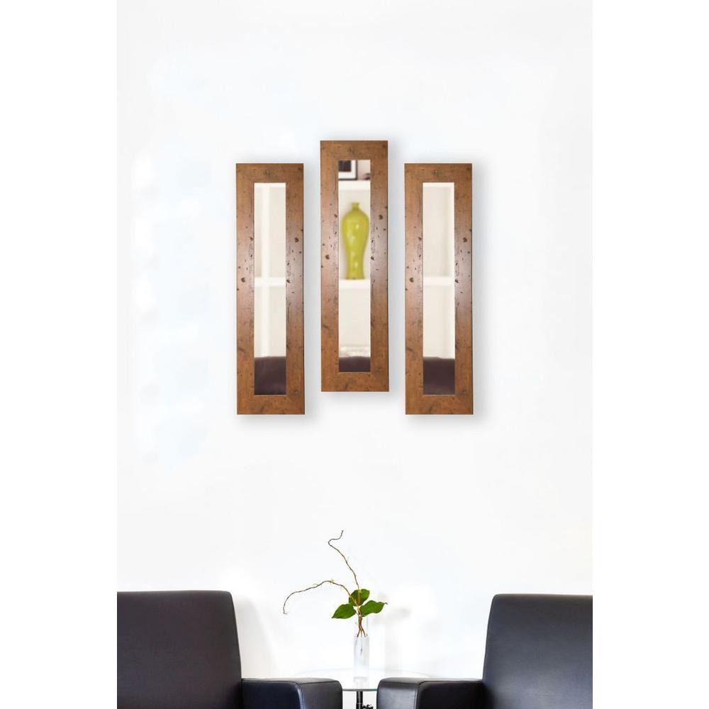 11.5 in. x 32.5 in. Rustic Light Walnut Vanity Mirror (Set of 3-Panels)