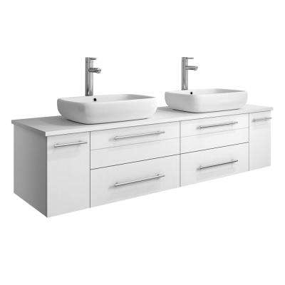 Lucera 60 in. W Wall Hung Bath Vanity in White with Quartz Stone Vanity Top in White with White Basins