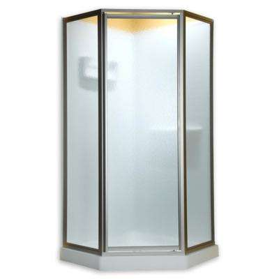 Prestige 24-1/4 in. x 68-1/2 in. Framed Neo-Angle Hinged Shower Door in Silver and Clear Glass