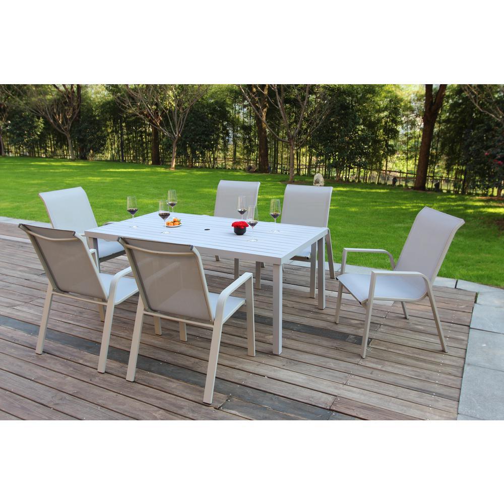 Hamptons Grey Seagull 7-Piece Aluminum Outdoor Dining Set