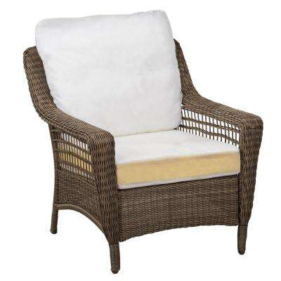 Spring Haven Grey Wicker Patio Chair with Cushions Included, Choose Your Own Color