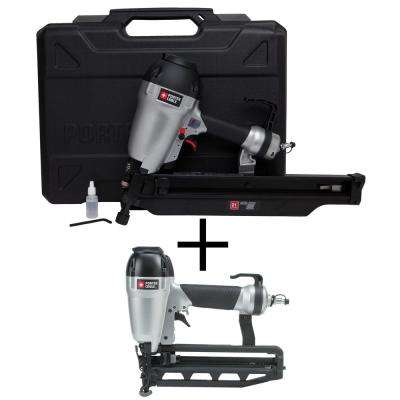 Pneumatic 21-Degree Corded 3-1/2 in. Full Round Framing Nailer with Bonus Pneumatic 16-Gauge 2-1/2 in. Finish Nailer Kit