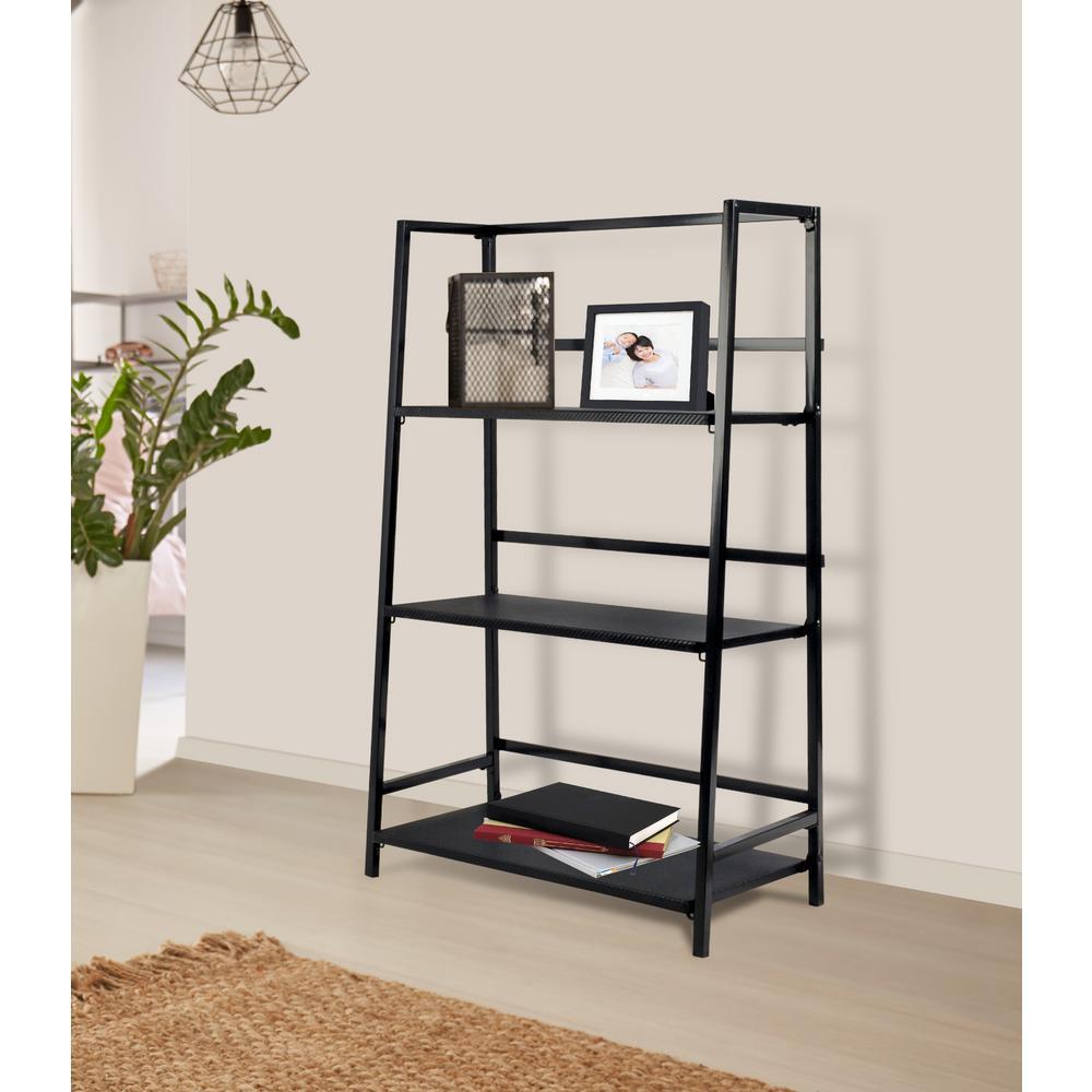 40.31 in. Black Metal 3-shelf Standard Bookcase with Open Back