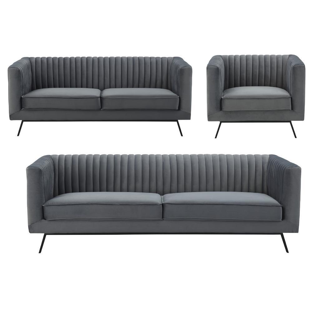 Manhattan Comfort Vandam 3 Piece Charcoal Grey Velvet Sofa Loveseat And Armchair Set