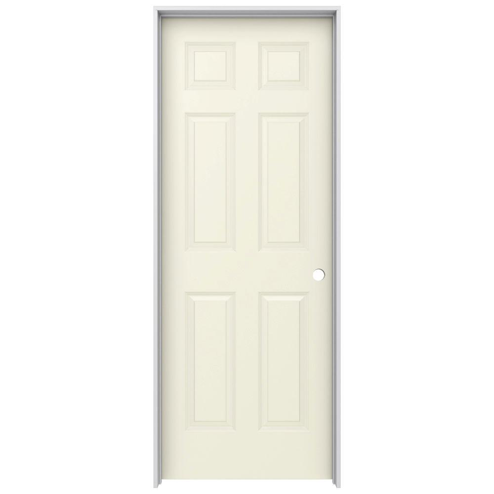 28 in. x 80 in. Colonist Vanilla Painted Left-Hand Smooth Molded
