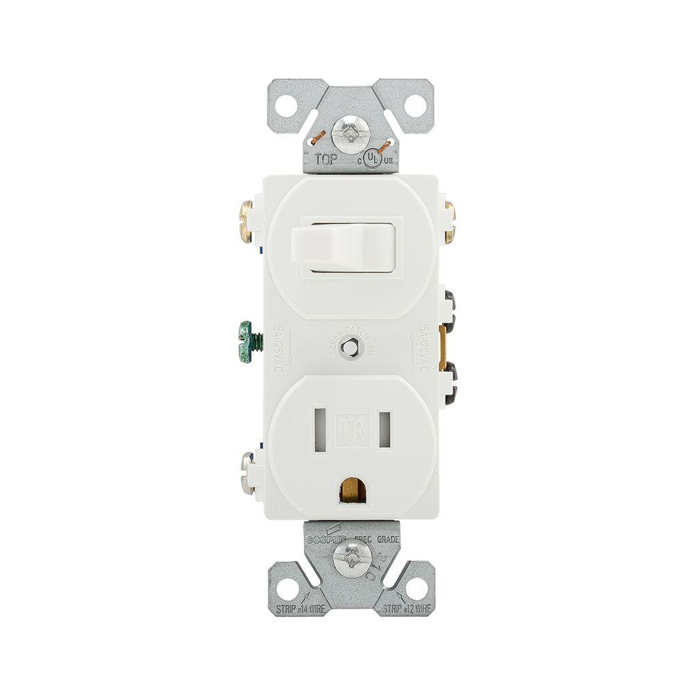 Eaton 15 Amp 120-Volt 5-15 3-Wire Combination Receptacle and Toggle