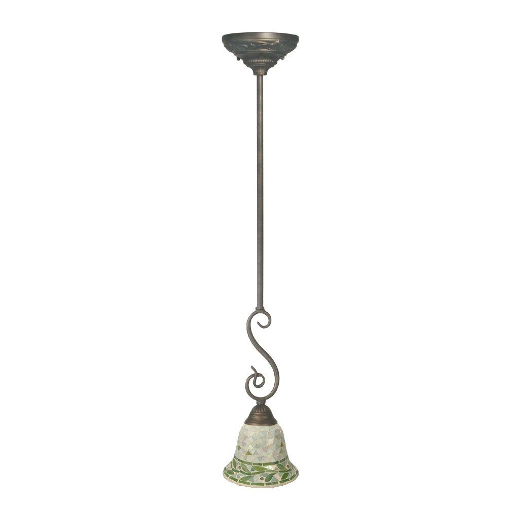 Dale Tiffany Green Mosaic 1-Light Antique Bronze Pendant Lamp-DISCONTINUED