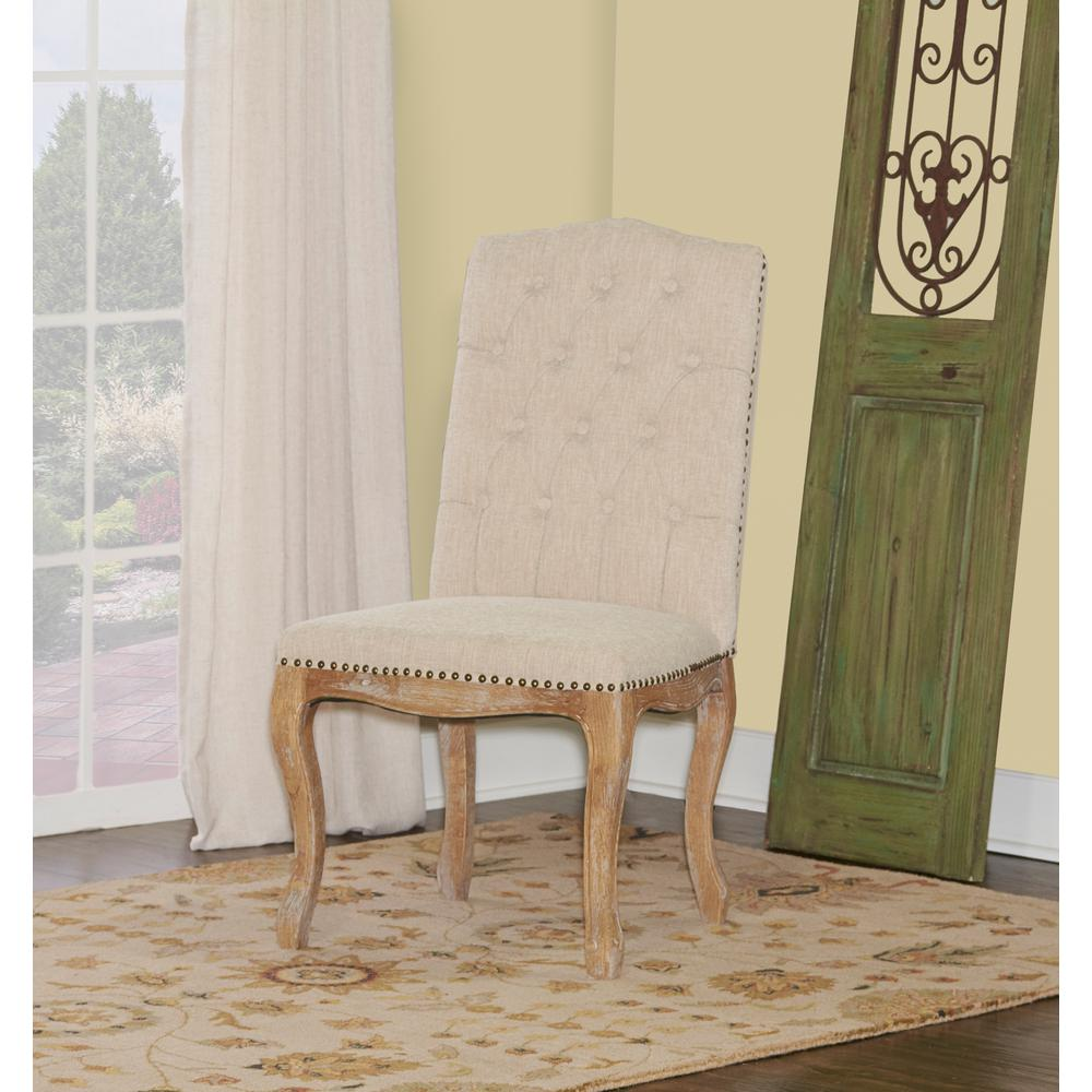 Linon Home Decor Portsmouth Light Natural Brown Linen Square Back Chair Write A Review