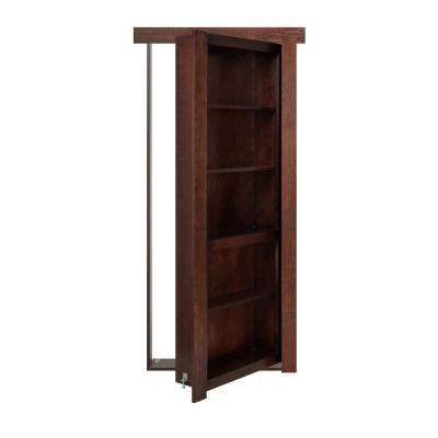 36 in. x 80 in. Flush Mount Assembled Cherry Dark Brown Stained Right-Hand Outswing Solid Core Interior Bookcase Door