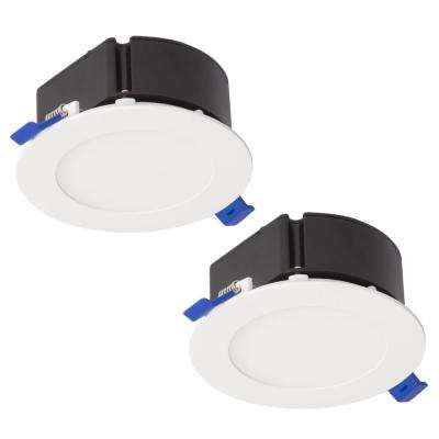 4 in. Top Box Slim Matte White Integrated LED Recessed Fixture Kit (2-Pack)