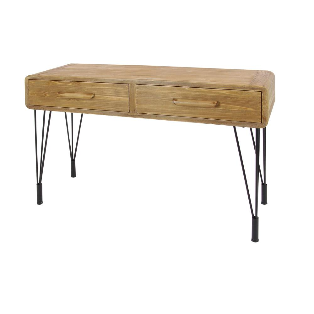 null Rustic Wood and Iron Console Table with Paperclip Legs. Rustic Wood and Iron Console Table with Paperclip Legs 55796   The